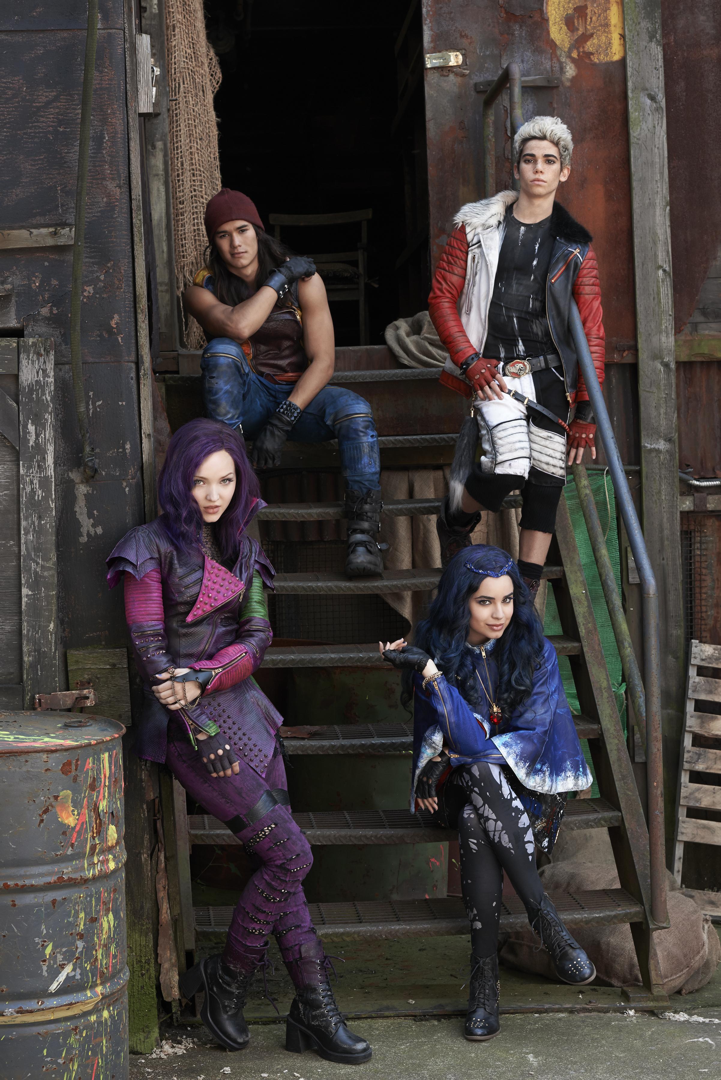 "DESCENDANTS - Disney Channel's original movie ""Descendants"" stars Dove Cameron as Mal, BooBoo Stewart as Jay, Sofia Carson as Evie and Cameron Boyce as Carlos. (Disney Channel/Bob D'Amico)"