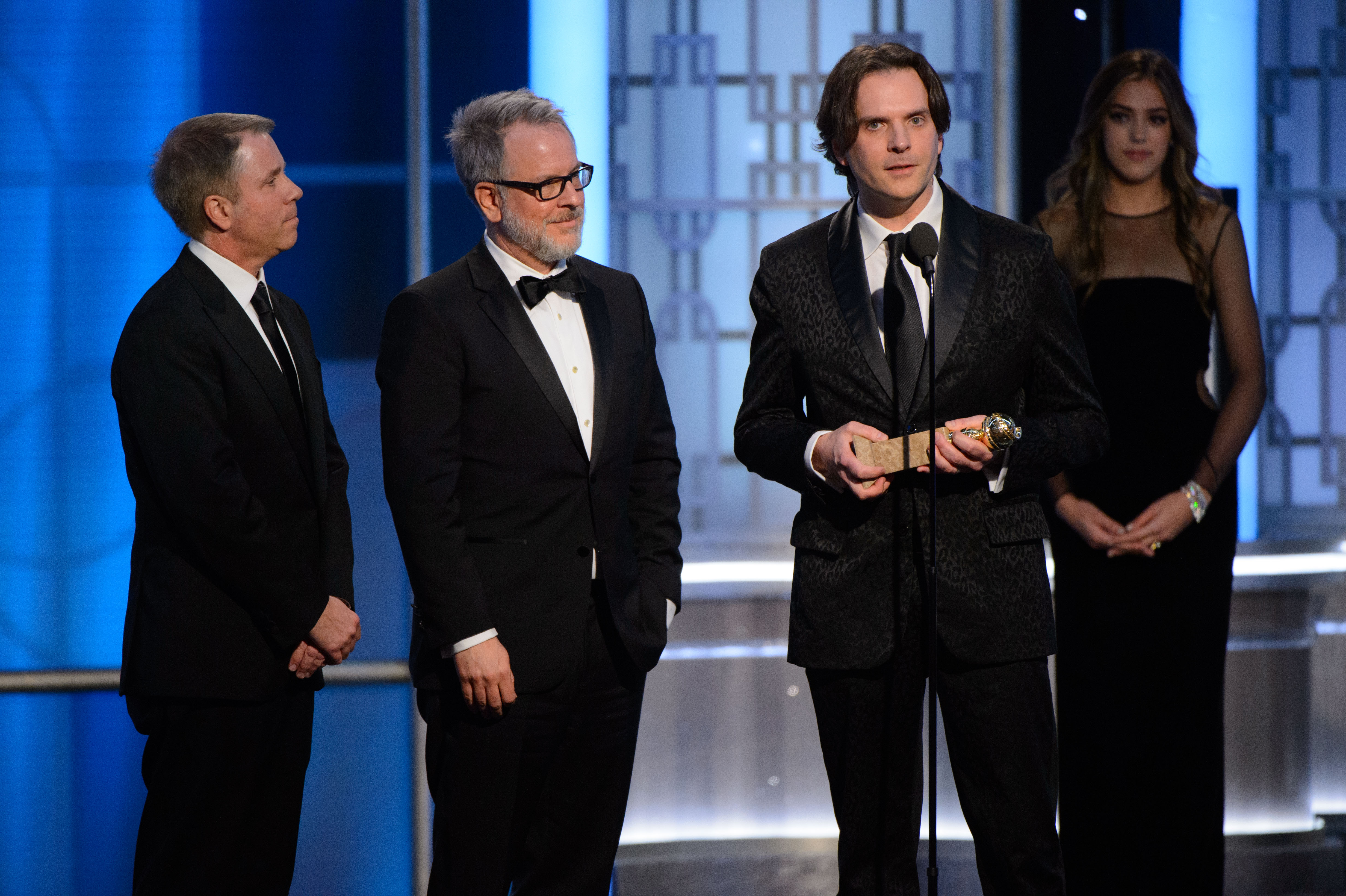 "Accepting the Golden Globe for BEST ANIMATED FEATURE FILM for ""Zootopia"" are Byron Howard, Rich Moore, and Jared Bush at the 74th Annual Golden Globe Awards at the Beverly Hilton in Beverly Hills, CA on Sunday, January 8, 2017."
